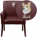 Embroidered Burgundy Leather Executive Side Chair or Reception Chair with Mahogany Legs