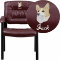 Embroidered Burgundy Leather Executive Side Chair with Black Frame Finish