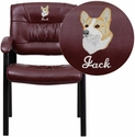 Embroidered Burgundy Leather Guest / Reception Chair with Black Frame Finish