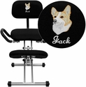 Embroidered Ergonomic Kneeling Chair in Black Fabric with Back and Handles