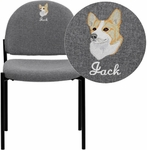 Embroidered Gray Fabric Comfortable Stackable Steel Side Chair [BT-515-1-GY-EMB-GG]