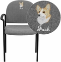 Embroidered Gray Fabric Comfortable Stackable Steel Side Chair with Arms