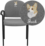 Embroidered Gray Fabric Comfortable Stackable Steel Side Chair with Arms [BT-516-1-GY-EMB-GG]