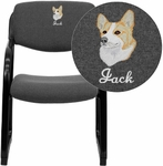 Embroidered Gray Fabric Executive Side Reception Chair with Sled Base [BT-508-GY-EMB-GG]