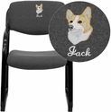 Embroidered Gray Fabric Executive Side Chair with Sled Base