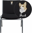 Embroidered HERCULES Series 1000 lb. Capacity Big and Tall Extra Wide Black Fabric Stack Chair with Ganging Bracket