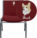 Embroidered HERCULES Series 1000 lb. Capacity Big and Tall Extra Wide Burgundy Fabric Stack Chair