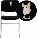 Embroidered HERCULES Series 1000 lb. Capacity Black Fabric High Density Stacking Chair with Chrome Sled Base [XU-8700-CHR-B-30-EMB-GG]