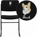 Embroidered HERCULES Series 1000 lb. Capacity High Density Black Fabric Stacking Chair with Sled Base