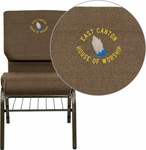 Embroidered HERCULES Series 18.5''W Brown Fabric Church Chair with 4.25'' Thick Seat,Book Rack - Gold Vein Frame [XU-CH-60096-BN-BAS-EMB-GG]