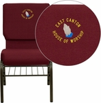 Embroidered HERCULES Series 18.5''W Church Chair in Burgundy Fabric with Book Rack - Gold Vein Frame [XU-CH-60096-BY-BAS-EMB-GG]