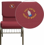 Embroidered HERCULES Series 18.5''W Burgundy Patterned Fabric Church Chair with 4.25'' Thick Seat,Book Rack - Gold Vein Frame [XU-CH-60096-BYXY56-BAS-EMB-GG]