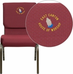 Embroidered HERCULES Series 18.5''W Burgundy Patterned Fabric Stacking Church Chair with 4.25'' Thick Seat - Gold Vein Frame [XU-CH-60096-BYXY56-EMB-GG]