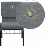 Embroidered HERCULES Series 18.5''W Gray Fabric Church Chair with 4.25'' Thick Seat,Book Rack - Gold Vein Frame [XU-CH-60096-BEIJING-GY-BAS-EMB-GG]