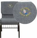 Embroidered HERCULES Series 18.5''W Gray Fabric Church Chair with 4.25'' Thick Seat,Book Rack - Gold Vein Frame