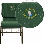 Embroidered HERCULES Series 18.5''W Green Patterned Fabric Church Chair with 4.25'' Thick Seat,Book Rack - Gold Vein Frame [XU-CH-60096-GN-BAS-EMB-GG]