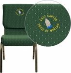 Embroidered HERCULES Series 18.5''W Green Patterned Fabric Stacking Church Chair with 4.25'' Thick Seat - Gold Vein Frame [XU-CH-60096-GN-EMB-GG]