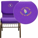 Embroidered HERCULES Series 18.5''W Purple Fabric Church Chair with 4.25'' Thick Seat,Book Rack - Gold Vein Frame [XU-CH-60096-PU-BAS-EMB-GG]
