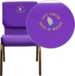Embroidered HERCULES Series 18.5''W Purple Fabric Stacking Church Chair with 4.25'' Thick Seat - Gold Vein Frame [XU-CH-60096-PU-EMB-GG]