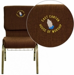 Embroidered HERCULES Series 18.5''W Brown Fabric Church Chair with 4.25'' Thick Seat, Communion Cup Book Rack - Gold Vein Frame [FD-CH02185-GV-10355-BAS-EMB-GG]