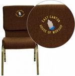 Embroidered HERCULES Series 18.5''W Brown Fabric Stacking Church Chair with 4.25'' Thick Seat - Gold Vein Frame [FD-CH02185-GV-10355-EMB-GG]