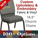 Embroidered HERCULES Series 18.5'' Wide Customizable Church Chair with Gold Vein Frame [NG-CH-185-GV-UNP-CUSTOM-EMB-GG]