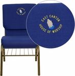 Embroidered HERCULES Series 18.5''W Navy Blue Fabric Church Chair with 4.25'' Thick Seat,Book Rack - Gold Vein Frame [XU-CH-60096-NVY-BAS-EMB-GG]