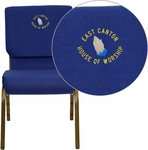 Embroidered HERCULES Series 18.5''W Navy Blue Fabric Stacking Church Chair with 4.25'' Thick Seat - Gold Vein Frame [XU-CH-60096-NVY-EMB-GG]