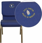 Embroidered HERCULES Series 18.5''W Navy Blue Patterned Fabric Stacking Church Chair with 4.25'' Thick Seat - Gold Vein Frame [XU-CH-60096-NVY-DOT-EMB-GG]