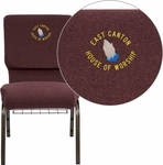 Embroidered HERCULES Series 18.5''W Plum Fabric Church Chair with 4.25'' Thick Seat, Communion Cup Book Rack - Gold Vein Frame [FD-CH02185-GV-005-BAS-EMB-GG]