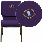 Embroidered HERCULES Series 18.5''W Royal Purple Fabric Church Chair with 4.25'' Thick Seat,Communion Cup Book Rack - Gold Vein Frame [FD-CH02185-GV-ROY-BAS-EMB-GG]