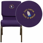 Embroidered HERCULES Series 18.5''W Royal Purple Fabric Stacking Church Chair with 4.25'' Thick Seat - Gold Vein Frame [FD-CH02185-GV-ROY-EMB-GG]