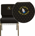 Embroidered HERCULES Series 21'' Extra Wide Black Dot Patterned Fabric Church Chair with 4'' Thick Seat,Communion Cup Book Rack - Gold Vein Frame [FD-CH0221-4-GV-S0806-BAS-EMB-GG]
