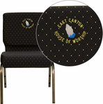 Embroidered HERCULES Series 21'' Extra Wide Black Dot Patterned Fabric Stacking Church Chair with 4'' Thick Seat - Gold Vein Frame [FD-CH0221-4-GV-S0806-EMB-GG]