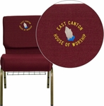 Embroidered HERCULES Series 21'' Extra Wide Burgundy Fabric Church Chair with 4'' Thick Seat,Communion Cup Book Rack - Gold Vein Frame [FD-CH0221-4-GV-3169-BAS-EMB-GG]