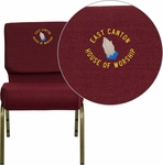 Embroidered HERCULES Series 21'' Extra Wide Burgundy Fabric Stacking Church Chair with 4'' Thick Seat - Gold Vein Frame [FD-CH0221-4-GV-3169-EMB-GG]