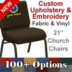 Embroidered HERCULES Series 21'' Extra Wide Customizable Church Chair with Gold Vein Frame [FD-CH-21-GV-UNP-CUSTOM-EMB-GG]