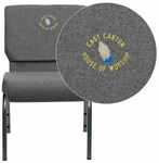 Embroidered HERCULES Series 21''W Stacking Church Chair in Gray Fabric - Silver Vein Frame [XU-CH0221-GY-SV-EMB-GG]