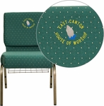 Embroidered HERCULES Series 21'' Extra Wide Hunter Green Dot Patterned Fabric Church Chair with 4'' Thick Seat,Communion Cup Book Rack - Gold Vein Frame [FD-CH0221-4-GV-S0808-BAS-EMB-GG]