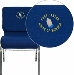 Embroidered HERCULES Series 21''W Church Chair in Navy Blue Fabric with Cup Book Rack - Silver Vein Frame [FD-CH0221-4-SV-NB24-BAS-EMB-GG]