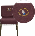 Embroidered HERCULES Series 21'' Extra Wide Plum Fabric Church Chair with 4'' Thick Seat,Communion Cup Book Rack - Gold Vein Frame [FD-CH0221-4-GV-005-BAS-EMB-GG]