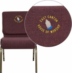 Embroidered HERCULES Series 21'' Extra Wide Plum Fabric Stacking Church Chair with 4'' Thick Seat - Gold Vein Frame [FD-CH0221-4-GV-005-EMB-GG]