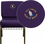 Embroidered HERCULES Series 21'' Extra Wide Royal Purple Fabric Church Chair with 4'' Thick Seat, Communion Cup Book Rack - Gold Vein Frame [FD-CH0221-4-GV-ROY-BAS-EMB-GG]
