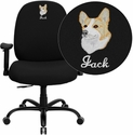 Embroidered HERCULES Series 400 lb. Capacity Big & Tall Black Fabric Office Chair with Arms and Extra WIDE Seat