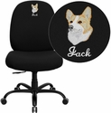 Embroidered HERCULES Series 400 lb. Capacity Big & Tall Black Fabric Office Chair with Extra WIDE Seat