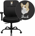 Embroidered HERCULES Series 400 lb. Capacity Big & Tall Black Leather Executive Swivel Office Chair with Extra WIDE Seat and Height Adjustable Arms [WL-735SYG-BK-LEA-A-EMB-GG]