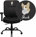 Embroidered HERCULES Series 400 lb. Capacity Big & Tall Black Leather Office Chair with Arms and Extra WIDE Seat