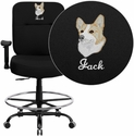 Embroidered HERCULES Series 400 lb. Capacity Big & Tall Black Fabric Drafting Stool with Arms and Extra WIDE Seat
