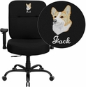 Embroidered HERCULES Series 400 lb. Capacity Big & Tall Black Fabric Executive Swivel Office Chair with Extra WIDE Seat and Height Adjustable Arms