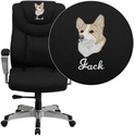 Embroidered HERCULES Series 400 lb. Capacity Big & Tall Black Fabric Executive Swivel Office Chair with Height & Width Adjustable Arms
